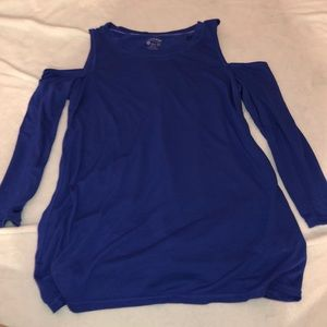 Small blue cold shoulder Calvin Klein shirt